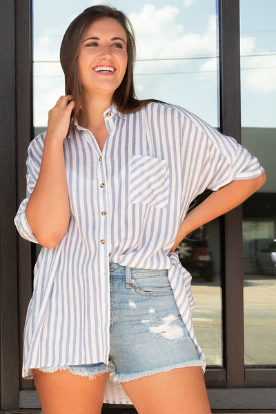 Blakely Stripes Top in Navy
