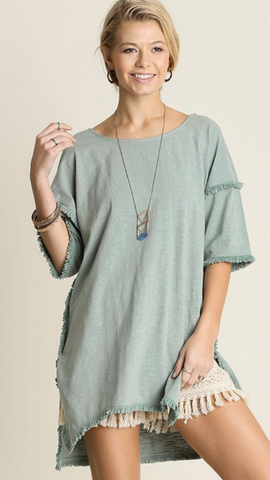 Lucia Fringe Tunic in Dusty Mint