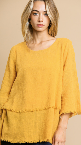 Mare 3/4 Sleeve Top in Mustard