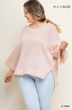 Shauna Waffle Knit Top in Light Pink (XL-2X)