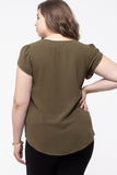 Scallop Neck Tulip Top in Olive
