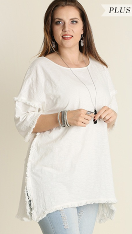 Lucia Fringe Tunic in Off White (XL-2XL)