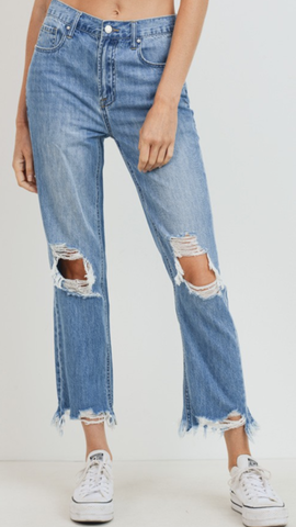 High Rise Cropped Straight Boyfriend Jeans
