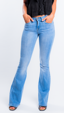 High Waist Lightwash Flares by Flying Monkey