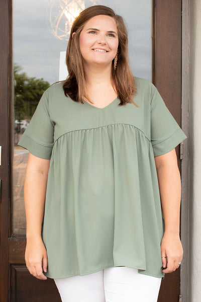 Amalia Empire Waist Top in Lt Olive