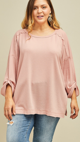 Waverly Waffle Scoop Neck Top in Blush (XL-2X)