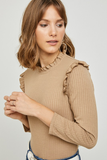 Ribbed Ruffle Mock Neck Top in Camel