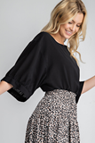 Polina Balloon Sleeve Top in Black