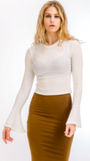Ribbed Bell Sleeve Top in White