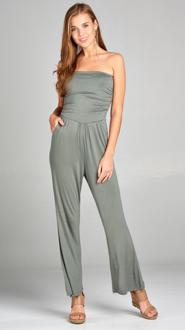 Simple Tube Jumpsuit in Sage