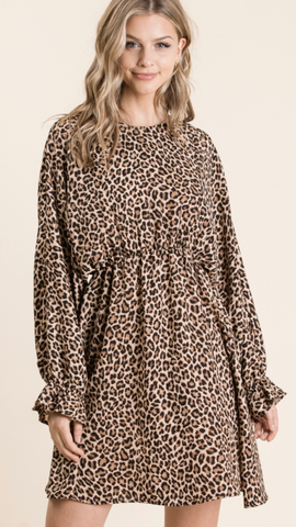 Cheetah Print Dolman Sleeve Dress (1X-3X)