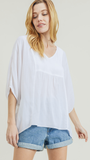 Joane White V Neck Top
