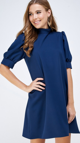 Gina Mock Neck Shift Dress in Navy