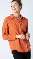 Mary Beth Button Down in Rust