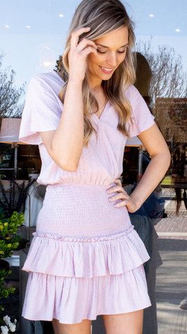 Nadia Smocked Ruffle Dress in Blush