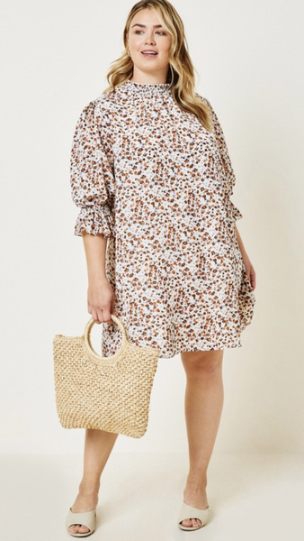 Margery Smock Neck Dress in Cream (1X-3X)