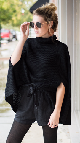 Barb Poncho in Black
