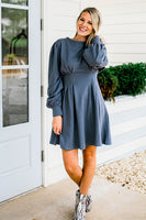 FiFi French Terry Dress in Dutch Blue