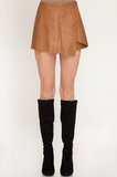 Babette Camel Leather Skort