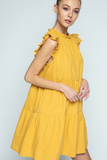 Elsie Ruffle Neck Dress in Mustard