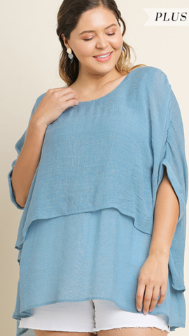 Kennedy Tunic in Light Blue (XL-2X)