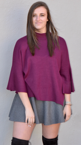 Celeste Bell Sleeve Sweater in Plum