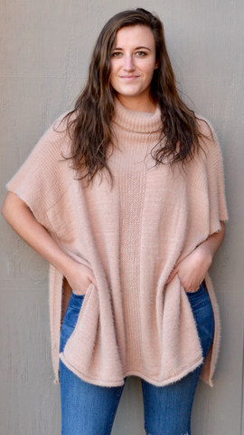 Rebecca Fuzzy Poncho Sweater in Blush