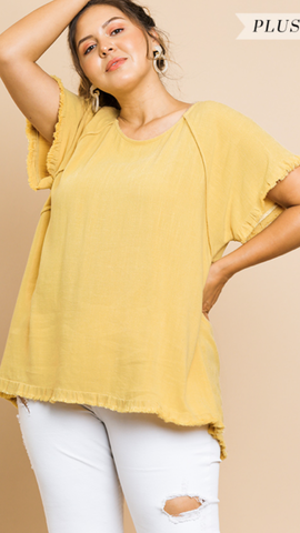 Jilly Short Sleeve Top in Honey (XL-2X)