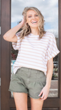 Liza Taupe Stripe Top