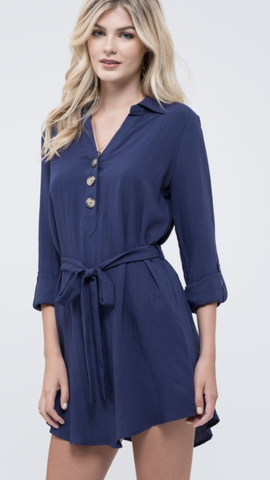 Jennifer Button Dress in Navy