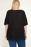 Tayla Black Thermal Knit Top