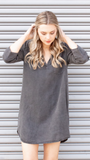 Tencel Placket Pocket Tunic in Black
