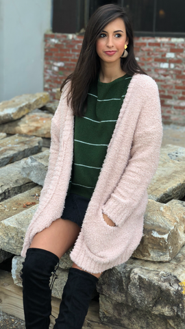 All In Cozy Cardigan in Blush