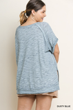 Kasia Short Sleeve V-Neck Top in Dusty Blue (XL-2X)