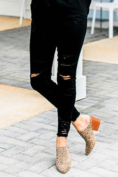 Black Distressed Ankle Skinny Jeans