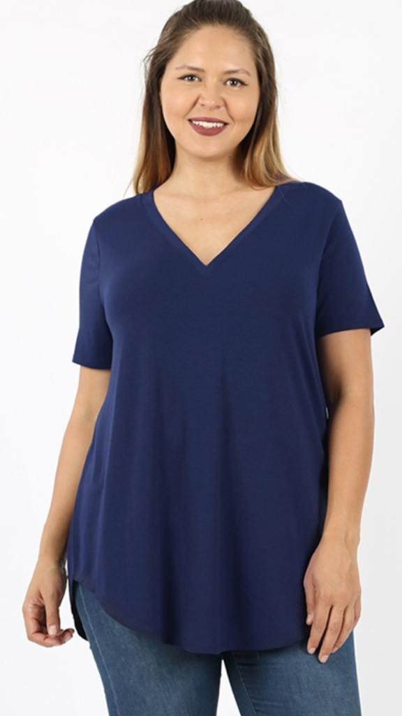 Dorothy V-Neck Top in Navy