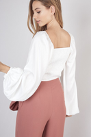 Square Neck Crop in White