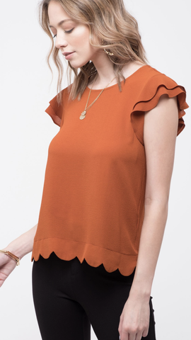 Flutter Sleeve Scalloped Top in Rust