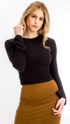 Ribbed Bell Sleeve Top in Black