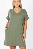 Benedetta Short Sleeve Dress in Lt Olive