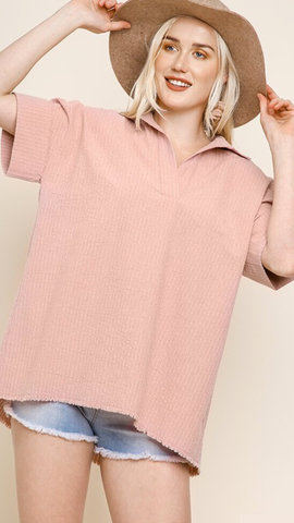 Hadley Stripes Top in Blush