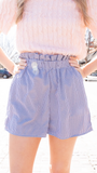 Polly Gingham Paperbag Shorts in Blue