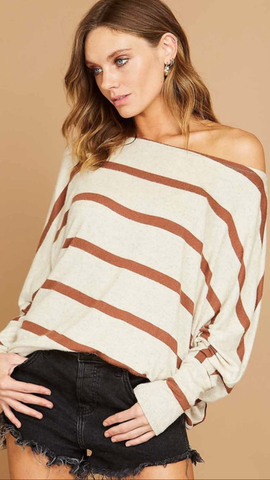 Vianna Striped Top in Rust