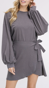 Willa Wrap Charcoal Dress