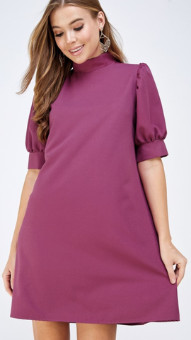 Gina Mock Neck Shift Dress in Magenta