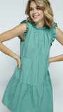 Elsie Ruffle Neck Dress in Sage