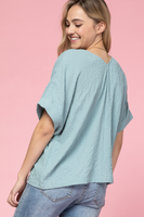 Marcey Button Up Top in Seafoam