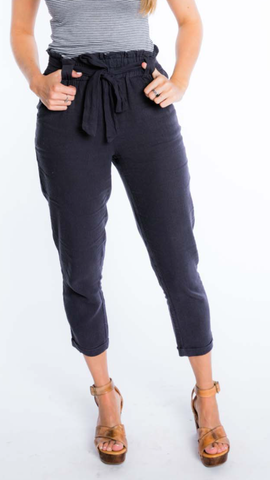 Navy High Waist Linen Pants