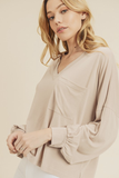 Dawna Long Sleeve Top in Taupe