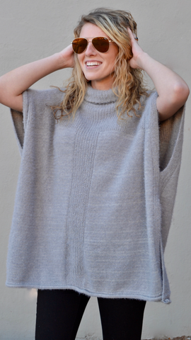 Rebecca Fuzzy Poncho Sweater in Grey